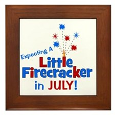 expectingalittlefirecrackerinjuly Framed Tile