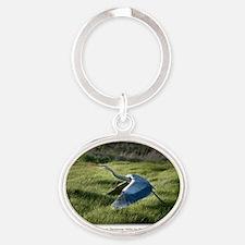 GCard_Great Blue Heron in  copy Oval Keychain