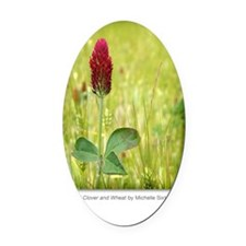GCard_Red Clover and Wheat copy Oval Car Magnet