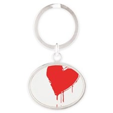 heartcullens_white Oval Keychain