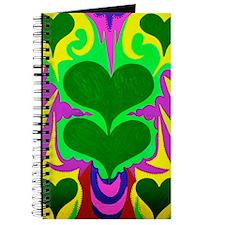 BFB Angel Hearts Dark GreenLight Green 23x Journal