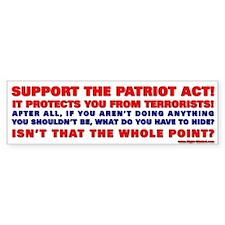 """Patriot Act"" Conservative Bumper Bumper Sticker"