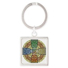 Celtic Cross Earth-Air-Fire-Water Square Keychain
