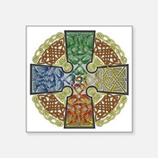 "Celtic Cross Earth-Air-Fire Square Sticker 3"" x 3"""