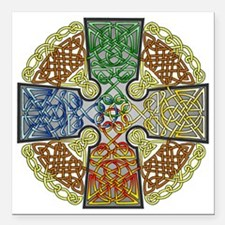 "Celtic Cross Earth-Air-F Square Car Magnet 3"" x 3"""