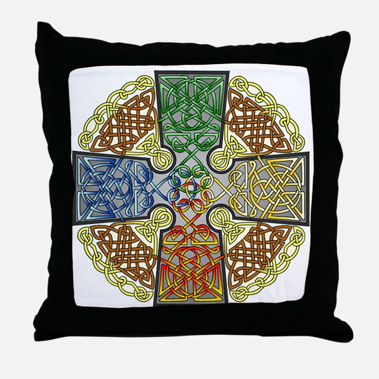 Celtic Cross Earth-Air-Fire-Water Throw Pillow