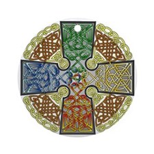 Celtic Cross Earth-Air-Fire-Water Round Ornament