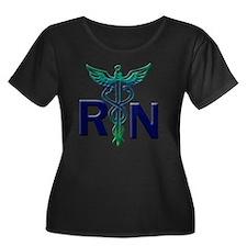 rn copy Women's Plus Size Dark Scoop Neck T-Shirt