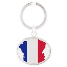 france_map_3c Oval Keychain