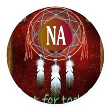 2-NA INDIAN Round Car Magnet