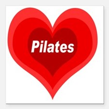 "Pilates Expanding Heart Square Car Magnet 3"" x 3"""