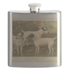 Fox Terriers antique print Flask