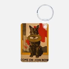WWI Red Cross Dog Poster Keychains