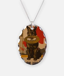WWI Red Cross Dog Poster Necklace Oval Charm