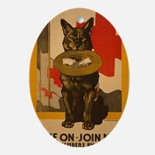 WWI Red Cross Dog Poster Oval Ornament