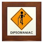 Caution Dipsomaniac Framed Tile