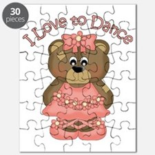 I Love to Dance Ballerina Bear Coral Puzzle