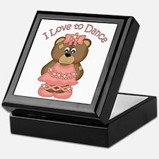 I Love to Dance Ballerina Bear Coral Keepsake Box