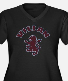 villanfaded Women's Plus Size Dark V-Neck T-Shirt