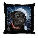 Christmas black lab Throw Pillows