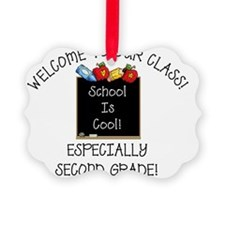 Notecard School Is Cool 2nd grade Ornament