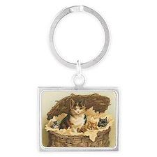 Kitties in Basket Landscape Keychain