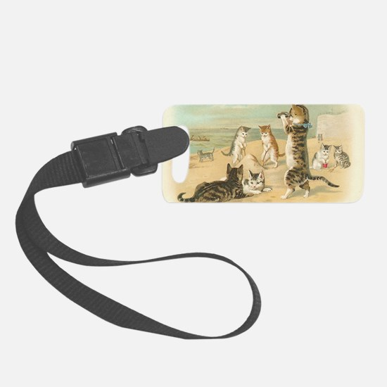 Cats at the Beach Small Luggage Tag