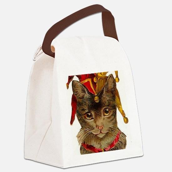 Clown Cat Canvas Lunch Bag