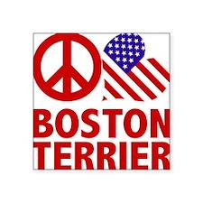 """FIN-peace-love-boston-terri Square Sticker 3"""" x 3"""""""