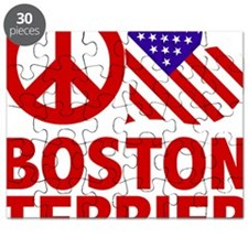 FIN-peace-love-boston-terrier-FLAG Puzzle