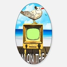 TERN ON THE TV greeting card Sticker (Oval)
