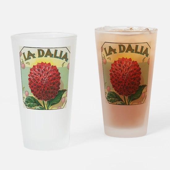 Dahlia Flower antique label Drinking Glass