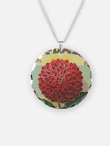 Dahlia Flower antique label Necklace Circle Charm