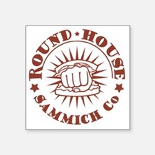 """round-house-red-T Square Sticker 3"""" x 3"""""""