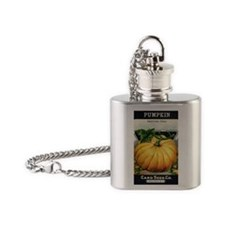 Pumpkin antique seed packet Flask Necklace
