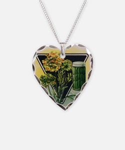 Dill Herbs antique seed packe Necklace Heart Charm