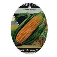 Yellow Corn antique seed packet Oval Ornament