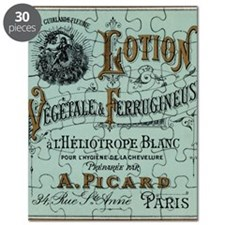 French Cosmetic Label blue Puzzle
