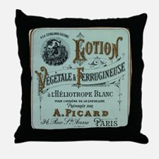 French Cosmetic Label blue Throw Pillow