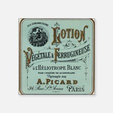 """French Cosmetic Label blue Square Sticker 3"""" x 3"""""""