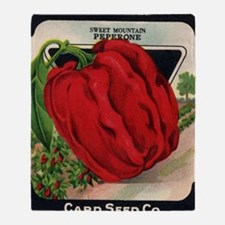 Red Bell Pepper antique seed packet Throw Blanket