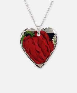 Red Bell Pepper antique seed  Necklace Heart Charm