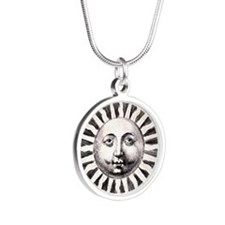 Medieval Sun Silver Round Necklace