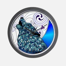 Celtic Wolf Blue Wall Clock