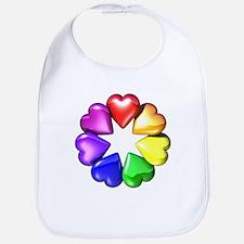 Rainbow Ring Hearts Bib