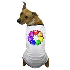 Rainbow Ring Hearts Dog T-Shirt