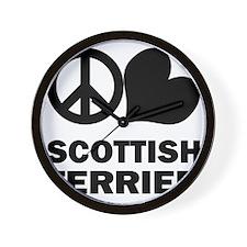 FIN-peace-love-scottish-terrier Wall Clock