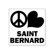 "FIN-peace-love-st-bernard Square Sticker 3"" x 3"""
