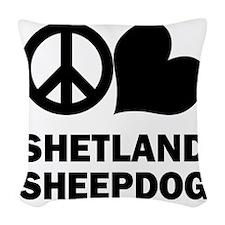 FIN-peace-love-shetland-sheepd Woven Throw Pillow