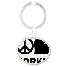 FIN-peace-love-yorkie Oval Keychain